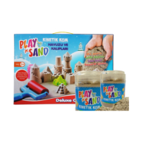 Play Sand Play Sand 2 Adet Kinetik Kum + Kum Havuzu + 16 Parça Kalıp