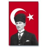 Koşan Atatürk Posteri Bayrak 100x150 Cm Saten Kumaş