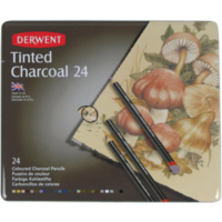 Derwent Tinted Charcoal Renkli Kömür Füzen Seti Teneke Kutu 24 Renk