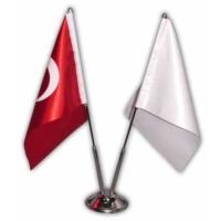 Bk Sublimasyon İkili Masa Bayrağı (1 Beyaz Bayrak + 1 Türk Bayrağı )