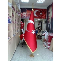 Ekin Bayrakçılık Makam Türk Bayrağı Telalı Saten (Sarı Simli) 100x150cm.