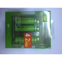 Gp Recyko 2700 Serisi Aa Şarjlı Kalem Pil 4+2'Li