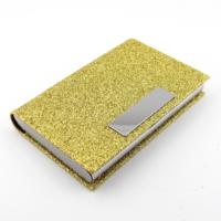 Solfera Parlak Simli Altın Sarısı Kartvizitlik V017