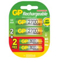 GP 2+2 2600mAh/800mAh Şarj Edilebilir AA/AAA Pil (GP270AA/80AAAHCMTN-2UEC4)