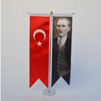Bayrakal Atatürk Ve Türk Bayrağı Kırlangıç Masa Bayrak Takımı