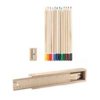 Kikkerland Wood Pencil Doodle Box - Ahşap Kırtasiye Seti