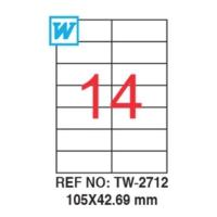 Tanex 105 x 42,69 Mm Laser Etiket Tw-2712