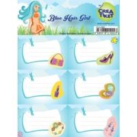 Crea Tiket 1002 Mavi Saçlı Kız Serisi Okul Etiketi