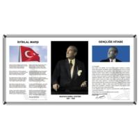 Martı Üçlü Milli Levha 50x90 Metal Çerçeve Atatürk Portresi + İstiklal Marşı + Gençliğe Hitabe