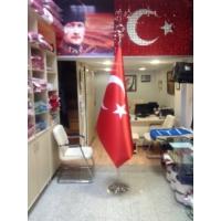 Ekin Bayrak Makam Türk Bayrağı + Krom Makam Direği (Takım)
