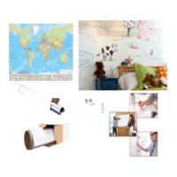 Neon Akıllı Beyaz Kağıt Yazı Tahtası 2 Adet 60x100 Statik Kağıt Tahta + Tahta Kalemi + Yazı Tahtası Silgisi + Mep 70x100 Dünya Haritası