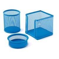Mas Perfore Üçlü Set Kalemlik, Ataşlık, Küp Blok Bebe Mavi 505