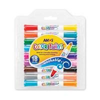 Amos Color Twins Çift Uçlu Keçeli 9 Kalem 18 Renk