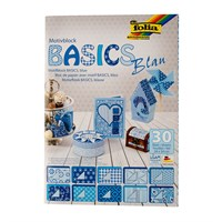 Folia Motiv Mavi Temel Dekoratif Karton
