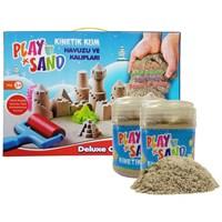 Play Sand 2 Adet Kinetik Kum + Kum Havuzu + 16 Parça Kalıp