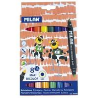Milan 80090 Çift Uçlu Maxi Bicolor Keçeli Kalem 8'Li