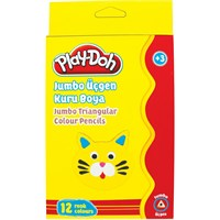 Play-Doh Ku008 12 Renk Jumbo Üçgen Kuru Boya