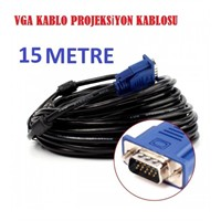 Magic 15 Mt Vga Kablo Monitör Projeksiyon Kablosu Siyah