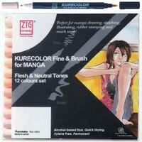Zig Kurecolor Fine & Brush For Manga Flesh & Neutral Tones 12 Renk Blister Ambalaj