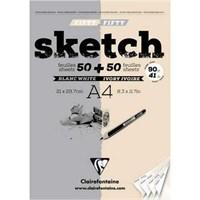 Clairefontaine Esquisse Blanc & Ivory Fifty Beyaz-Fildişi Sketch Blok 100 Yaprak 90 Gr. A4