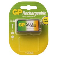 GP Tekli ReCyko 200 Serisi Ni-Mh Şarj Edilebilir 9V Kare Pil (GP20R8HEMTR-2GB1)