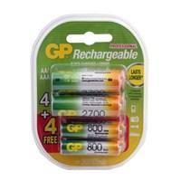 GP 4+4 2600mAh/800mAh Şarj Edilebilir AA/AAA Pil (GP270AA/80AAAHCMTN-2UEC8)