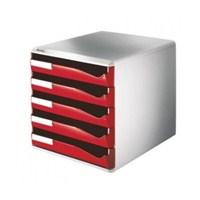Leitz Çekmeceli Evrak Rafı 5 Çekmeceli Kırmızı 52800025