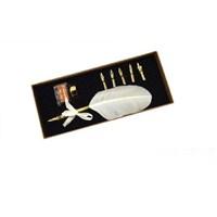 Steelpen Calligraphy Pen Set Beyaz Renkli Kuş Tüyü Set Cs-0208