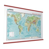 Kabartma Dünya Fiziki 70X100 Haritası