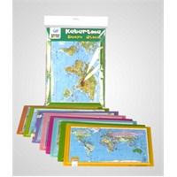 A4 Kabartma Dünya Atlası Haritası
