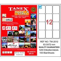 Tanex TW-2012 63,5x72 mm Laser Etiket 100 Ad.