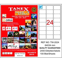Tanex TW-2024 64x34 mm Laser Etiket 100 Ad.
