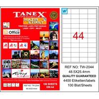 Tanex TW-2044 48,5x25,4 mm Laser Etiket 100 Ad.