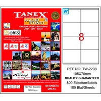 Tanex TW-2208 105x70 mm Laser Etiket 100 Ad.