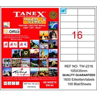 Tanex TW-2216 105x35 mm Laser Etiket 100 Ad.