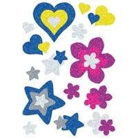Herma Çocuk Etiketi Parıldayan Kalpler ve Çiçekler