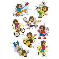 Herma Çocuk Etiketi Spor Yapan Hayvanlar