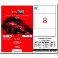 Tanex TW-2008 99,1x67,7 mm Polyester Laser Etiket 25 Ad.