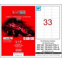 Tanex TW-2033 63,5x25,4 mm Polyester Laser Etiket 25 Ad.