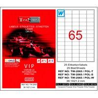 Tanex TW-2065 38,1x21,2 mm Şeffaf Laser Etiket 25 Ad.