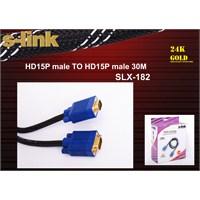 S-Link HD15P Male Projeksiyon VGA Data Kablosu SLX-182(30 Metre)