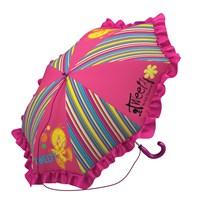 Tweety Şemsiye (Küçük Boy) (Pembe Çizgili)(Kız Öğrenci)