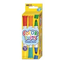 Amos Color Twins - Çift Taraflı Keçeli Kalem 6 Kalem (12 Renk) Ct12P