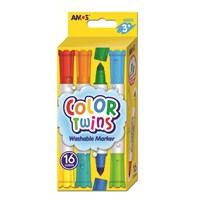 Amos Color Twins - Çift Taraflı Keçeli Kalem 8 Kalem (16 Renk) Ct16P