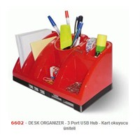 Mas 6602 Desk Organızer - Usb Hub - C.Reader-Kırmızı