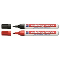 Edding 3000 Permanent Markör (2'li Siyah & Kırmızı) - ESKİ KOD