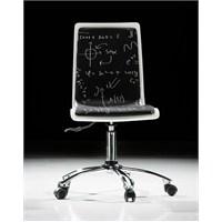 Handy Mate Pop Art Çalışma Sandalyesi Beyaz Siyah Beyaz Tahtası Baskı-Krom Ayak