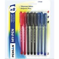 Pensan 2210 My-Pen Tükenmez Kalem 1.0Mm Karışık 8'li