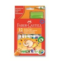Faber-Castell Jumbo Üçgen Beyaz Gövde Boya Kalemi 12 Renk Yarım Boy (5171123013)