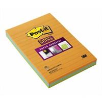 Post-it® Super Sticky Not, Neon Turuncu, Yesil, Mavi, 102x152mm, 45 yaprakx3 renk